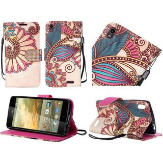 Insten Yellow Antique Flower Leather Case Cover Lanyard with Stand/ Diamond For ZTE Warp Elite