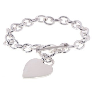 Sterling Silver 8-inch Heart Toggle Bracelet