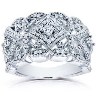 Annello By Kobelli 10k White Gold 1 2ct TDW Diamond Antique Filigree Wide Anniversary Ring
