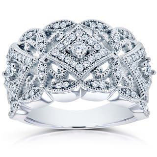 Annello by Kobelli 10k White Gold 1/2ct TDW Diamond Antique Filigree Wide Anniversary Ring|https://ak1.ostkcdn.com/images/products/10924613/P17954489.jpg?impolicy=medium