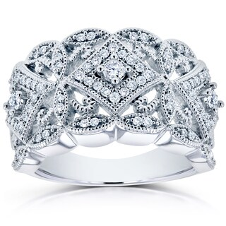 Annello by Kobelli 10k White Gold 1/2ct TDW Diamond Antique Filigree Wide Anniversary Ring