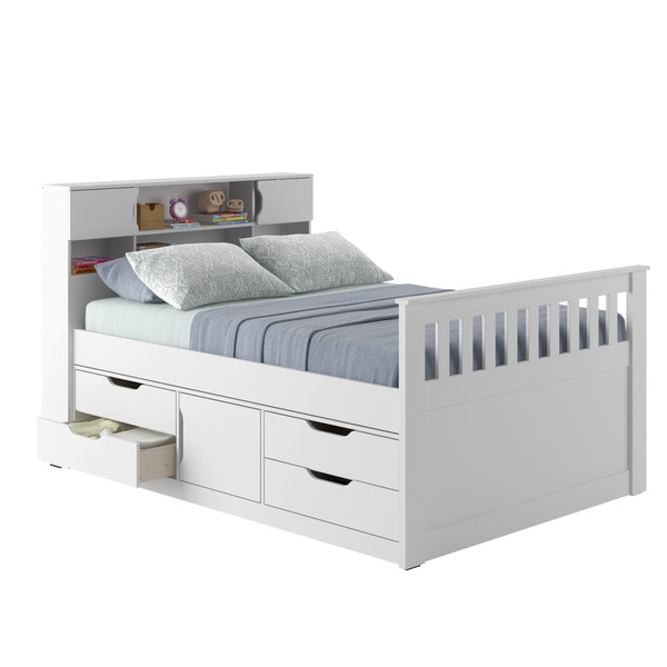 Madison full double captain 39 s bed free shipping today Captains bed full