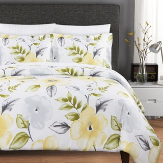 Echelon Home Charlotte Cotton 3-piece Duvet Cover Set