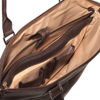 Piel Leather Slim Executive Laptop Tote Bag