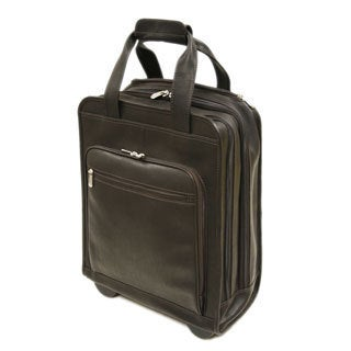 Piel Leather Vertical Rolling Laptop Briefcase