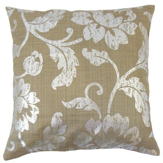 Berdine Floral Silver/ Brown 18-inch Feather and Down Filled Throw Pillow