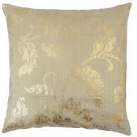 Berdine Floral Tan/ Gold 18-inch Feather and Down Filled Throw Pillow