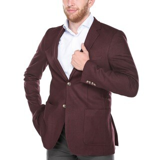 Verno Armati Men's Wool Blend Burgundy Slim Fit Italian Styled Blazer