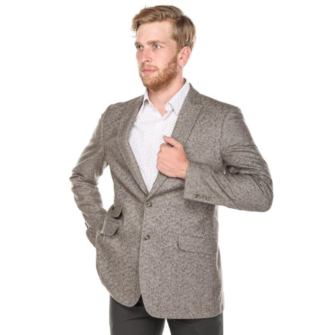 Verno Bacchi Men's Light Brown Patterned Classic Fit Italian Styled Wool Blazer