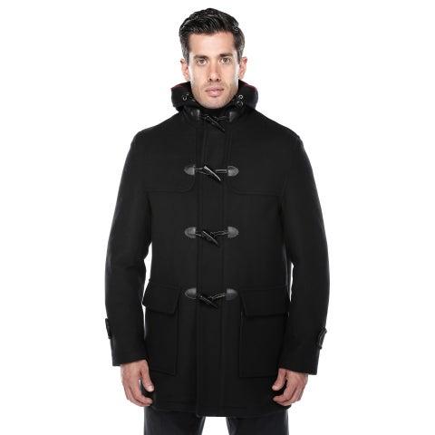 Verno Men's Rolan Black Wool Blend Hooded Toggle Coat