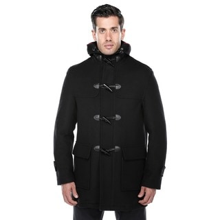 Verno Men's Rolan Black Wool Blend Hooded Toggle Coat