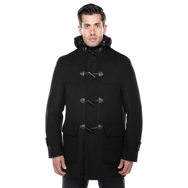 Verno Men's Rolan Black Wool Blend Hooded Toggle Coat - Free ...