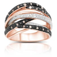 Finesque Gold Over Silver 1/4 Ct TDW Brown and White Diamonds Multi Band Ring