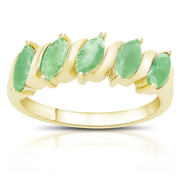 315b91630a5264 Dolce Giavonna Gold Over Sterling Silver Marquise Gemstone Five Stone Ring