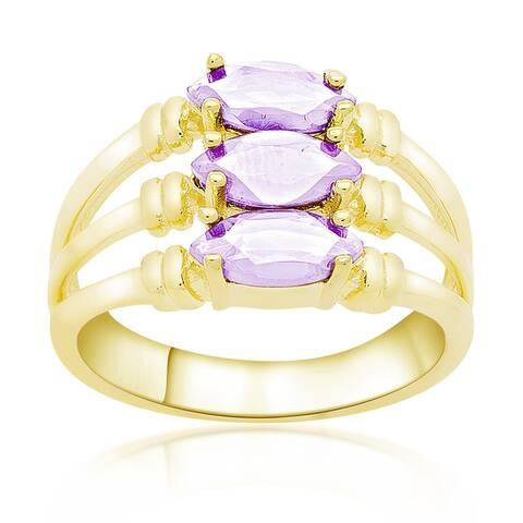 Dolce Giavonna Gold Over Sterling Silver Marquise Gemstone Three Band Ring