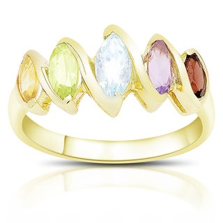 Dolce Giavonna Gold Over Sterling Silver Marquise Gemstone Five Stone Ring