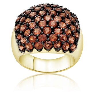 Dolce Giavonna Gold Over Sterling Silver Garnet Cluster Ring