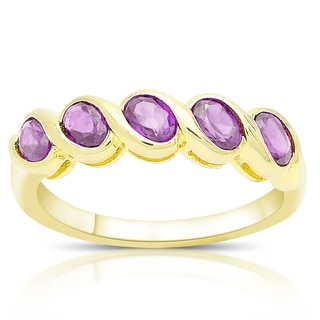 Dolce Giavonna Gold Over Silver or Sterling Silver Oval Gemstone Five Stone Ring