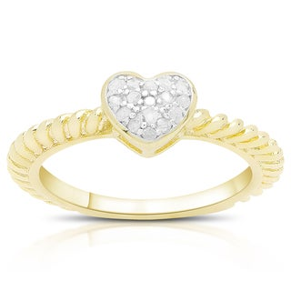 Finesque Gold Over Sterling Silver 1/0 Ct TDW Diamond Heart Ring