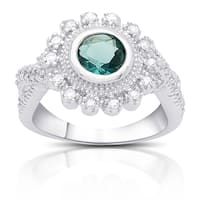 Samantha Stone Sterling Silver Cubic Zirconia and Simulated London Blue Topaz Flower Ring