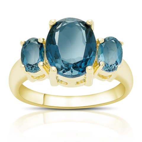 Dolce Giavonna Gold Over Sterling Silver London Blue Topaz Three Stone Ring