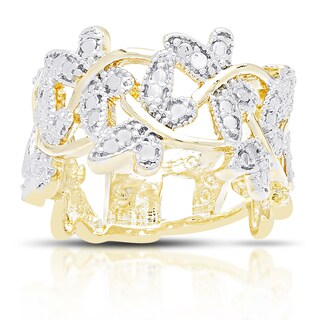 Finesque Gold Overlay Diamond Accent Dragonfly Ring