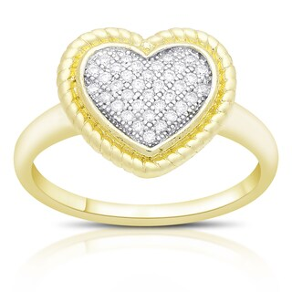 Samantha Stone Gold Over Sterling Silver Cubic Zirconia Heart Ring