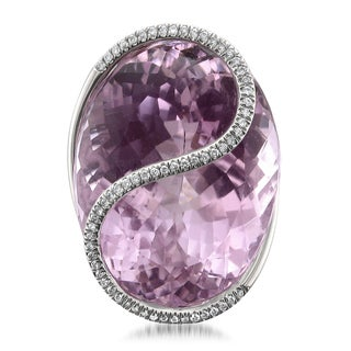 Montebello 14k Gold Natural Kunzite and Diamond 41 1/2ct TGW IGI Certified One-of-a-Kind Ring (H-I, I1)