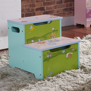 Children's Storage Step Stool - Bee, Snail & Mushroom