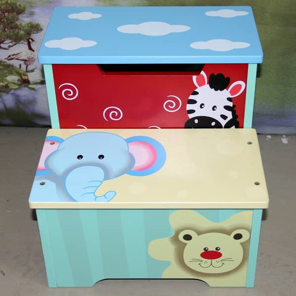 Sensational Shop Childrens Zebra Elephant And Lion Storage Step Stool Beatyapartments Chair Design Images Beatyapartmentscom