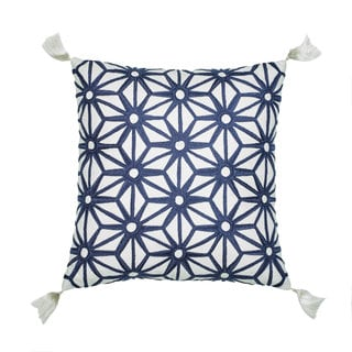 Jill Rosenwald Greek Key Navy Embroidered Decorative Pillow