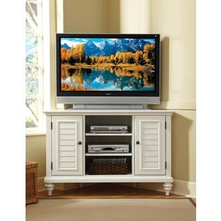 Home Styles Bermuda Brushed White Corner TV Stand