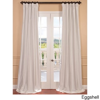"""Exclusive Fabrics Faux Silk Taffeta Solid Blackout Curtain Panel 108"""" in Eggshell (As Is Item)"""