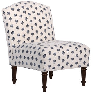 Skyline Furniture Camel Back Chair in Hand Flora Indigo