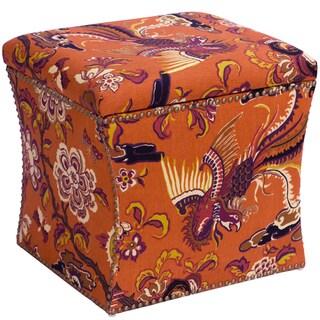 Skyline Furniture Nail Button Storage Ottoman in Firebird Terracotta