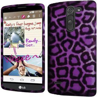 Insten Purple/ Black Leopard Hard Snap-on Rubberized Matte Case Cover For LG G3 Stylus