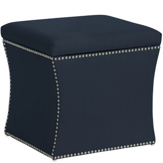 Skyline Furniture Nail Button Storage Ottoman In Klein Midnight
