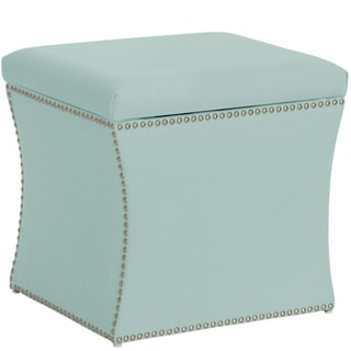 Skyline Furniture Nail Button Storage Ottoman in Klein Pool