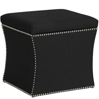 Skyline Furniture Nail Button Storage Ottoman in Klein Black