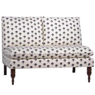 Skyline Furniture Armless Love Seat in Hand Flora Indigo