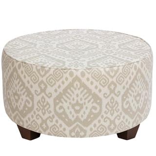 Skyline Furniture Round Cocktail Ottoman in Safi Dove Grey