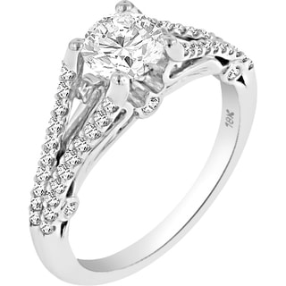 Verragio 18k White Gold Cubic Zirconia Center and 1/3ct TDW Diamond Split Shank Side Stone Semi-mount Ring (VS1-VS2, F-G)