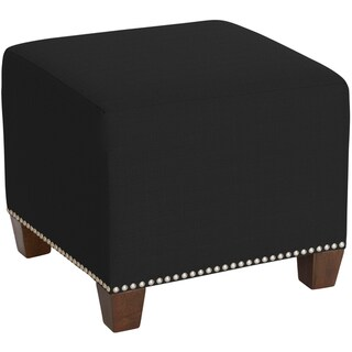 Skyline Furniture Square Nail Button Ottoman in Klein Black