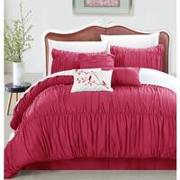 Maison Rouge Maillart 7-piece Pink Pleated and Ruffled Comforter Set