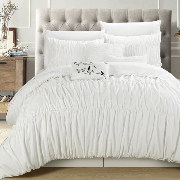 Chic Home Frances White Pleated And Ruffled 7 Piece Comforter Set Free Shipping Today