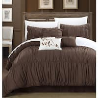 Copper Grove Grand Marais 7-piece Coffee Pleated and Ruffled Comforter Set