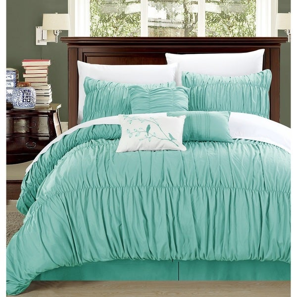 Chic Home Frances 7-piece Aqua Pleated and Ruffled Comforter Set