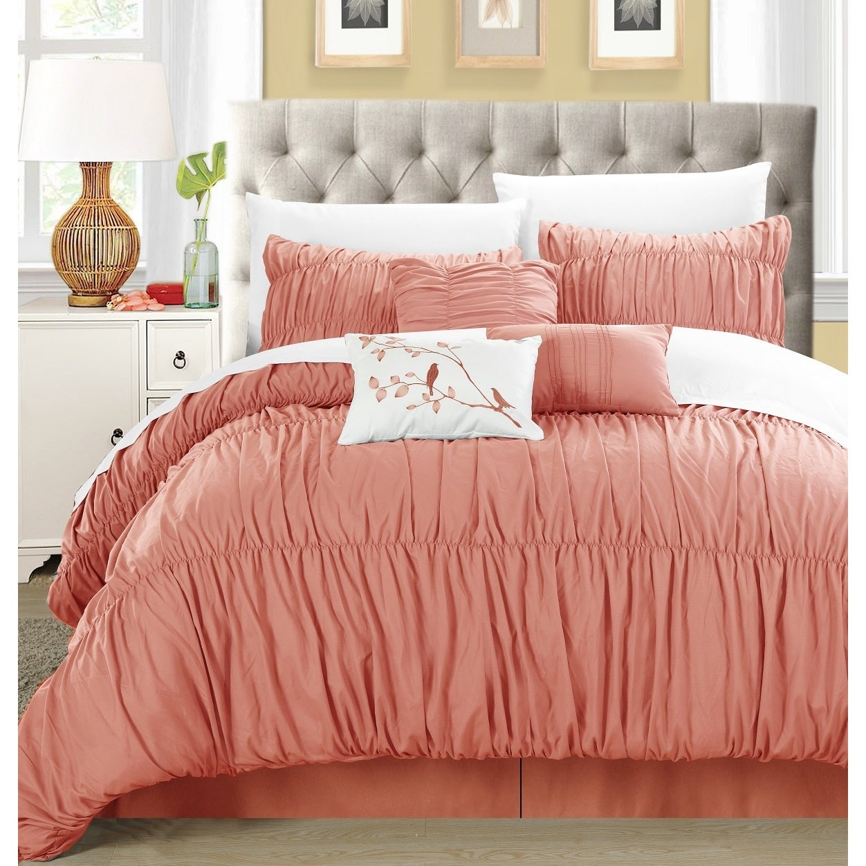 Shop Chic Home Frances 7 Piece Peach Pleated And Ruffled