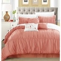 Chic Home Frances 7-piece Peach Pleated and Ruffled Comforter Set