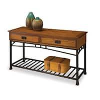 Home Styles Modern Craftsman Distressed Oak and Metal Sofa Table